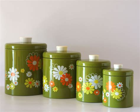retro kitchen canisters set vintage ransburg canister set avocado with white yellow