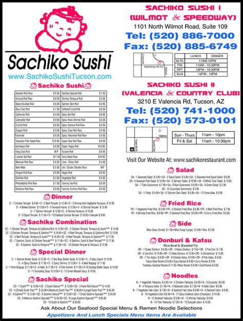 menu semaine cuisine az sachiko sushi restaurant tucson az 85712 yellowbook