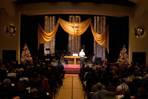 silver  gold church stage design ideas