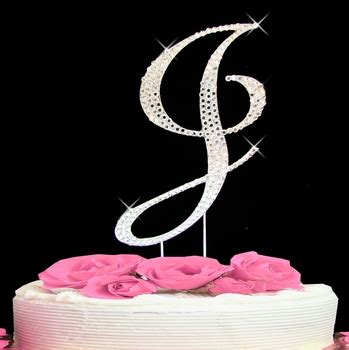 letter  cake topper initial  fully covered  swarovski crystals