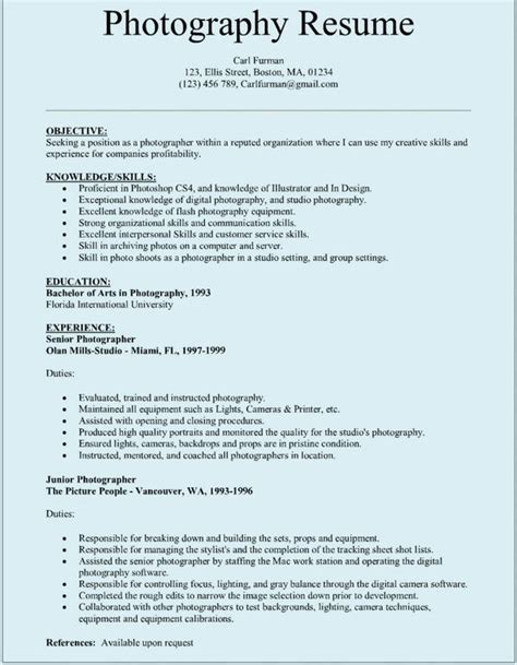 sample photographar resume resume examples