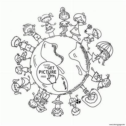 Earth Coloring Pages Happy Printable Printables Children