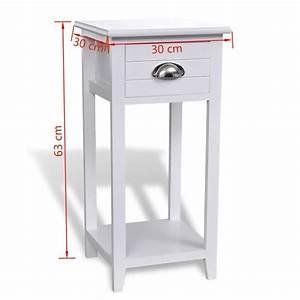 Meuble Pour Téléphone : acheter table de chevet meuble pour t l phone avec 1 tiroir blanc pas cher ~ Teatrodelosmanantiales.com Idées de Décoration