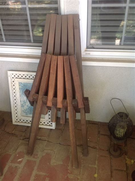 vintage mid century danish modern wood slat folding deck