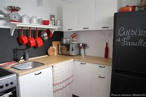 Refrigerateur Sous Plan De Travail : une petite cuisine ambiance rustique chic avec meuble blanc plan de travail en bois peinture ~ Farleysfitness.com Idées de Décoration