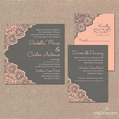 printable wedding invitation set rustic lace wedding