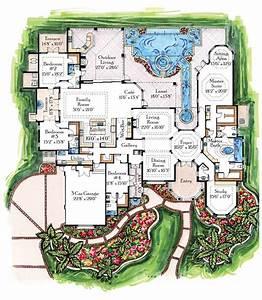 Mediterranean, Mansion, Floor, Plans