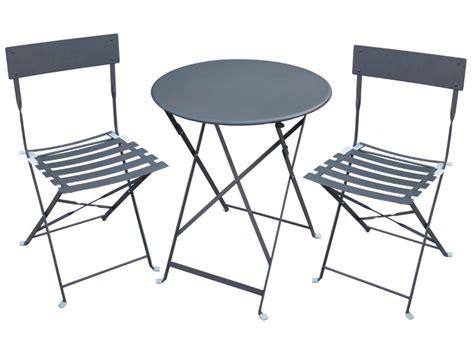chaise et table de jardin table 2 chaises de jardin en métal canebiere blanc