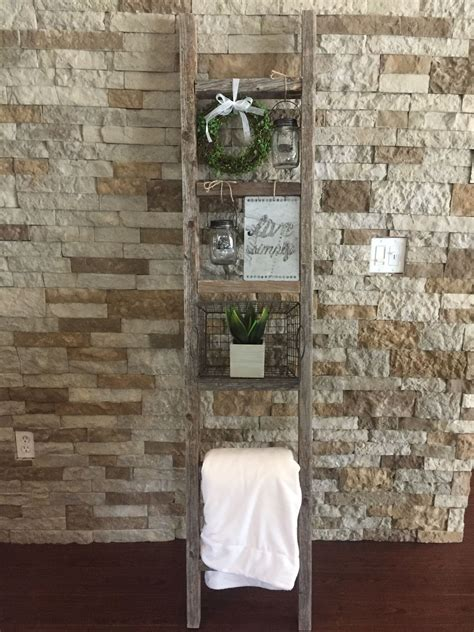my diy project is complete rustic wood ladder decor i