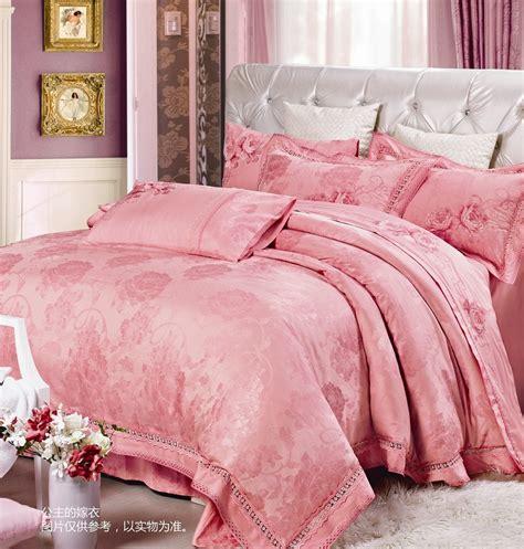 princess bedroom sets silk bedding sets king size pink rose bedclothes queen girls comforter