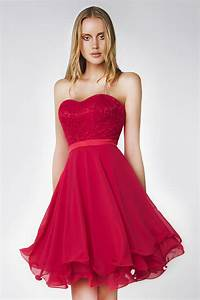 Haut Habillé Pour Soirée : courte robe rouge c r monie d collet e en coeur haut dentelle ajour ~ Melissatoandfro.com Idées de Décoration