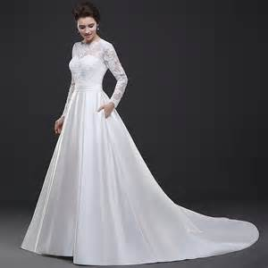 a line wedding dresses with sleeves white lace sleeves wedding dress satin skirt a line chapel bridal dress lace up