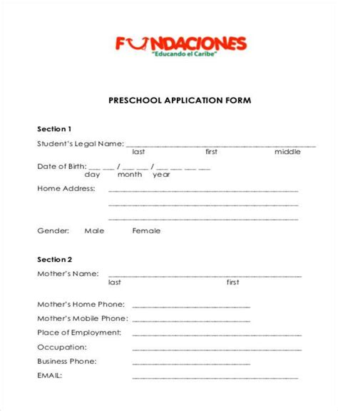 school application form samples 7 free documents in 679 | Pre School Application Form