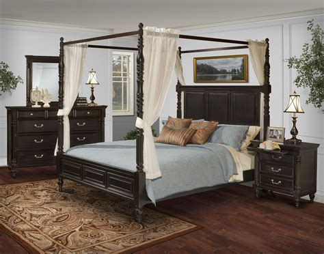 martinique rubbed black king canopy bed with drapes 00 222 111 131 new classics