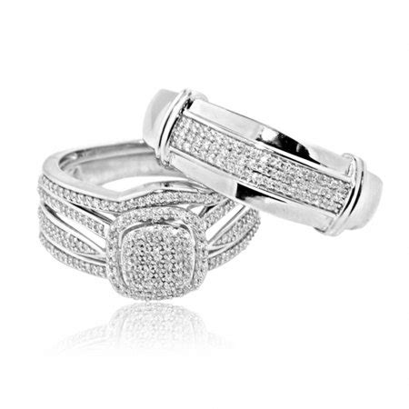 midwestjewellery 10k white gold 0 54cttw trio wedding rings his and hers walmart