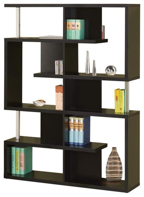Modern White/Black Finish Bookcase w/ Compartments Chrome Support Beams, Black   Contemporary