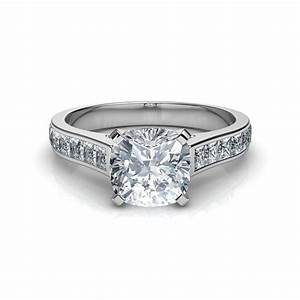 Channel set cushion cut diamond engagement ring for Diamond wedding ring images