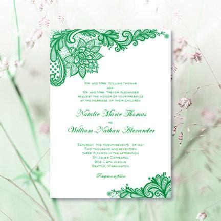 vintage lace wedding invitation emerald green wedding