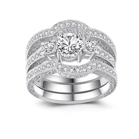 womans wedding rings classic round cut white sapphire 925 sterling silver women