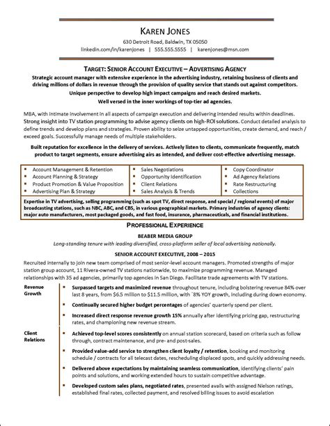 advertising sales account executive resume advertising agency exle resume