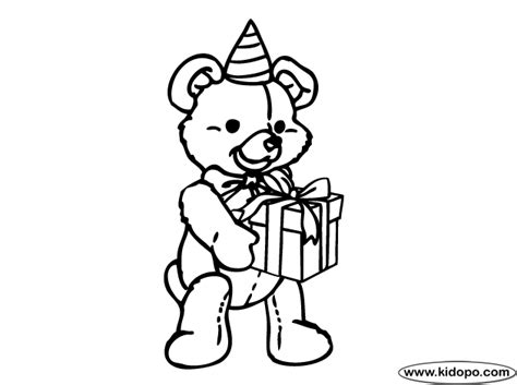Teddy Bear Birthday 3 Coloring Page