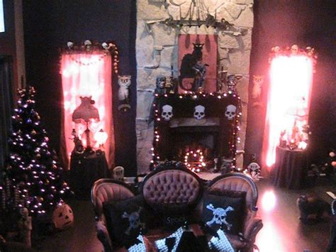 halloween decorated victorian goth living room love home