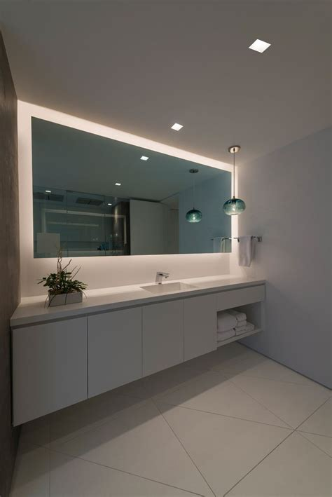 Modern Bathroom Mirrors With Led Lights by The Truly Trimless Appearance Of Recessed Square Leds