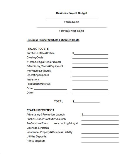 Sample Grant Proposal Budget Template