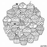 Cupcakes Mandala Cakes Coloring Cute Cup Circle Mandalas Cake Pages Making Adult Want Them Delicious Round Those Perfect Composing Colors sketch template