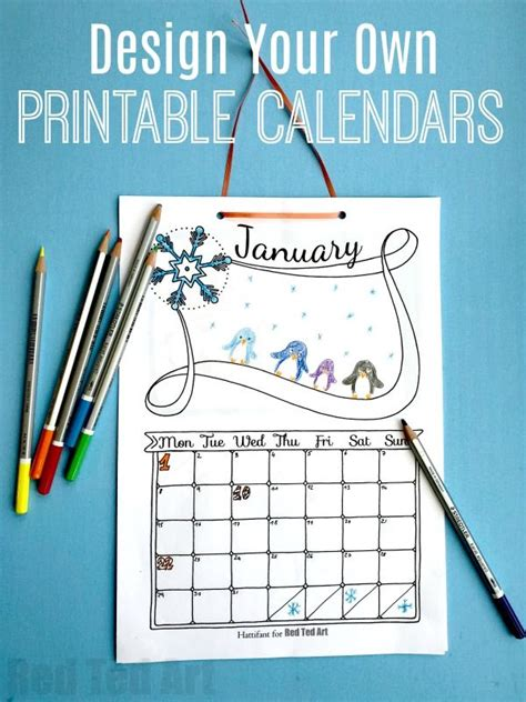 cute printable calendar  kids calendar