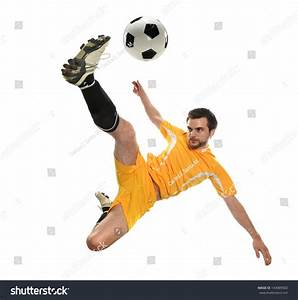 Soccer Player Kicking Ball Isolated On Stock Photo ...
