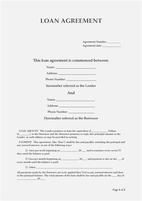 loan agreement templates word  templatelab