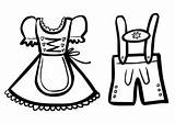 Lederhosen Coloring Pages Dirndl Drawing Template Paintingvalley sketch template