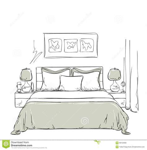 dessin chambre dessin intérieur moderne de chambre à coucher illustration