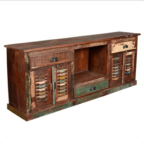 rustic dvd storage cabinet 72 quot long large reclaimed wood media tv stand console
