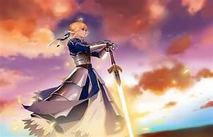 Wallpaper, Illustration, Blonde, Anime, Girls, Short, Hair, Green, Eyes, Dress, Armor, Sword, Fate