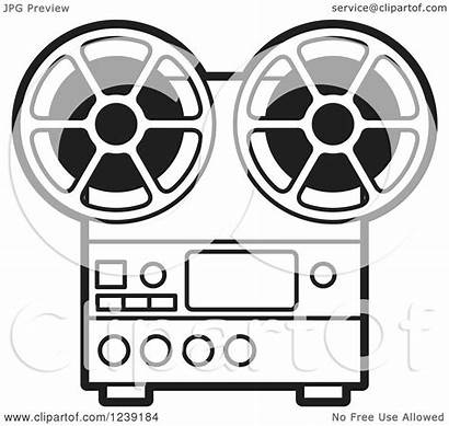 Film Projector Illustration Reels Silver Clipart Royalty
