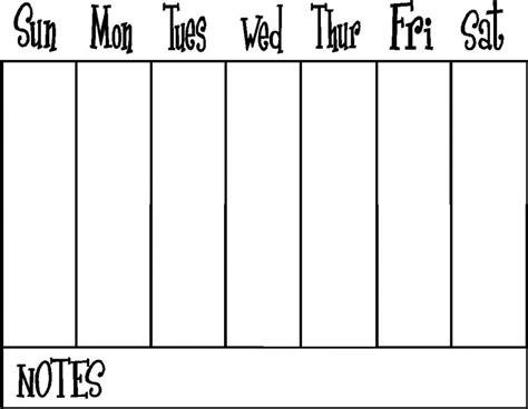 Week Calendar Template One Week Calendar Free Calendar Template