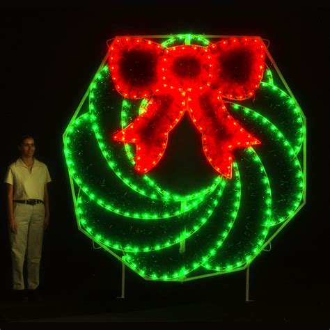 led garland wreath light display 8