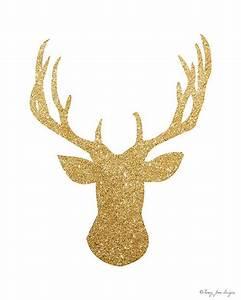 Gold Glitter Deer Digital Art Home Decor Winter Art