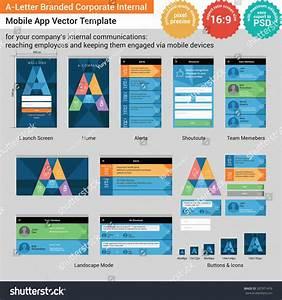 Aletter Branded Corporate Internal Mobile App Stock Vector