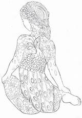 Coloring Pages Adult Adults Tattoo Peacock Body Deviantart Colouring Sheets Books Print Printable Tattoos Outline Printables Disney Advanced Divyajanani Mandala sketch template