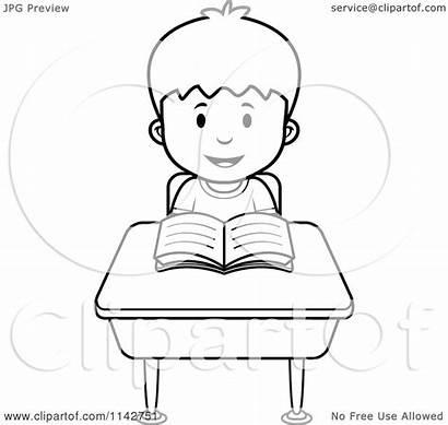 Desk Boy Reading Cartoon Clipart Coloring Vector