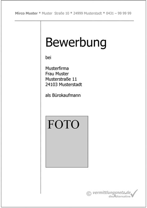 deckblatt vorlage  masse  inspiration bewerbung fuer