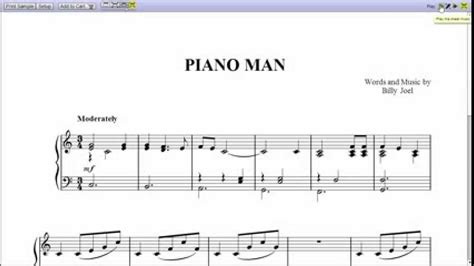 """After the payment, you will be redirected to a page where you will be able to download the sheet music in pdf and midi format. """"Piano Man"""" Billy Joel - Piano Sheet Music (Teaser) - YouTube"""