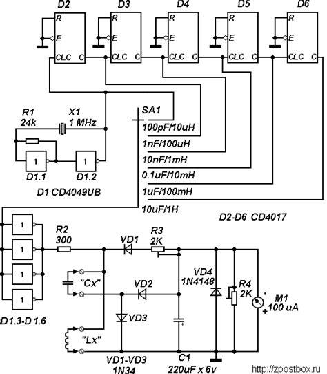 capacitance and inductance meter with digital ics