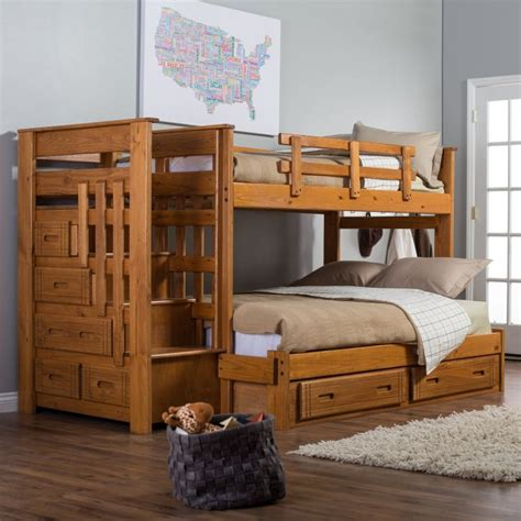 wooden twin  full  stairs bunk bed plans  kids