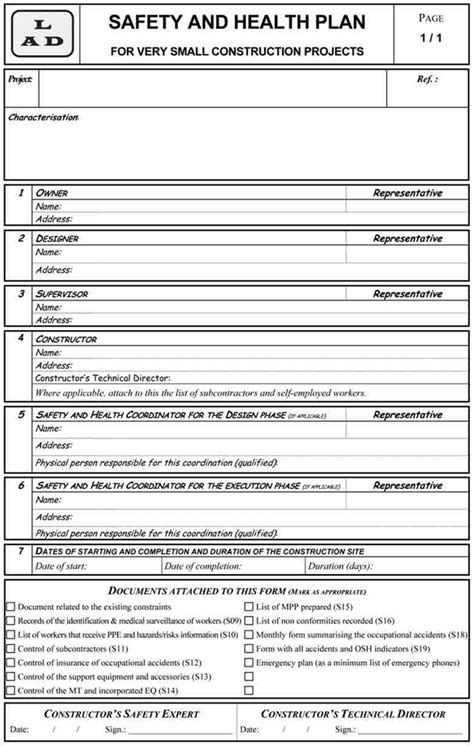 construction health and safety plan template neatmanager