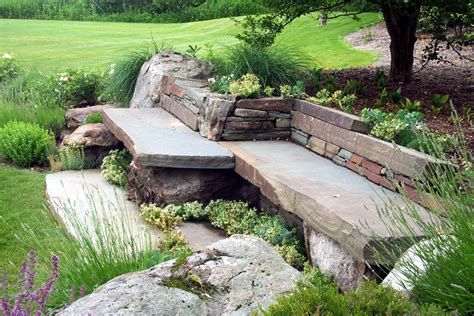 Glamorous Stone Garden Bench With Back