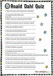 Free Printable Roald Dahl Quiz Party Delights Blog